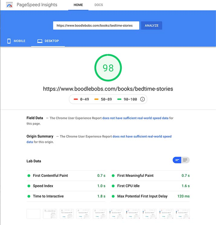 BoodleBobs desktop book page optimisation results