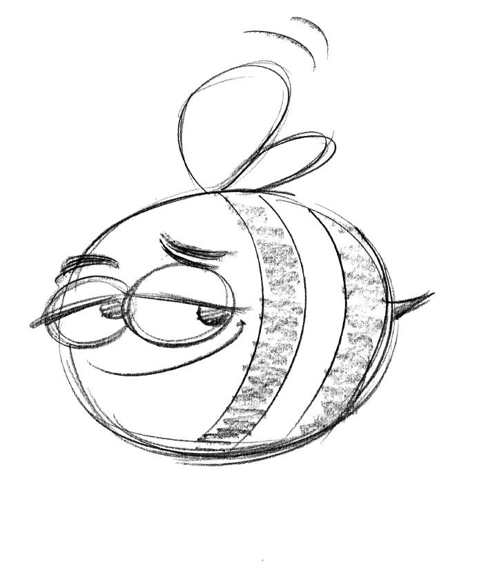 Character Design From Pencil Drawings - BoodleBobs Bee - Content Creation SEO Hampshire