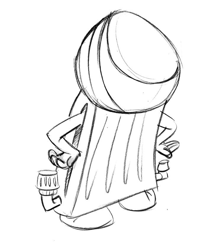 Character Designs From Pencil Drawings - BoodleBobs Raj Back - Content Creation SEO Hampshire