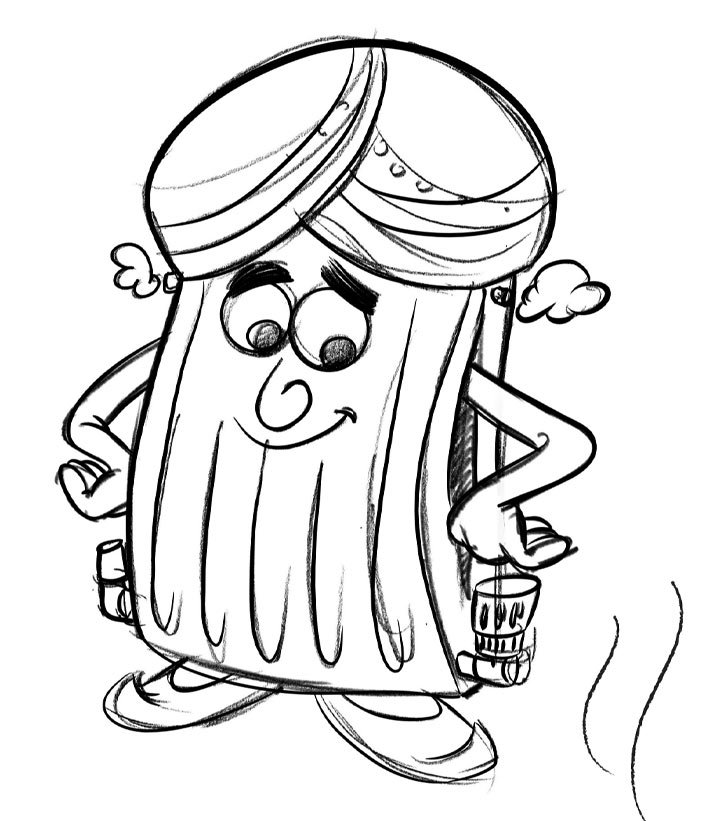 Character Designs From Pencil Drawings - BoodleBobs Raj Front - Content Creation SEO Hampshire