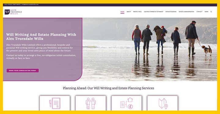 seo and wordpress web design for alex truesdale wills seo in Hampshire