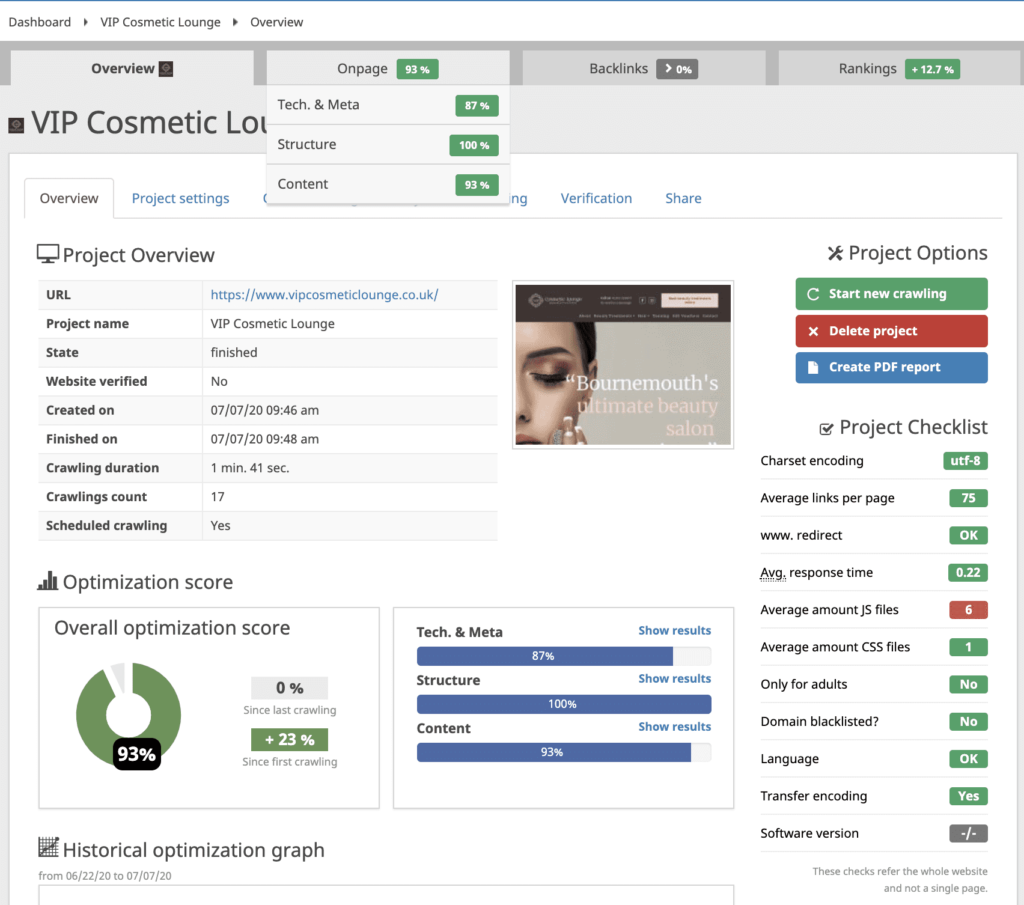 Technical SEO Project For VIP Cosmetic Lounge Bournemouth