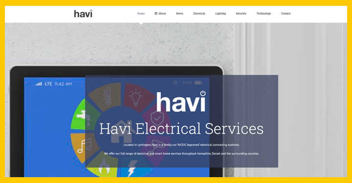 WordPress design hosting for new forest electrician havi Homepage - SEO Hampshire